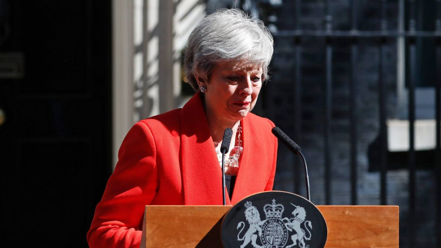 British Prime Minister Theresa May announces resignation