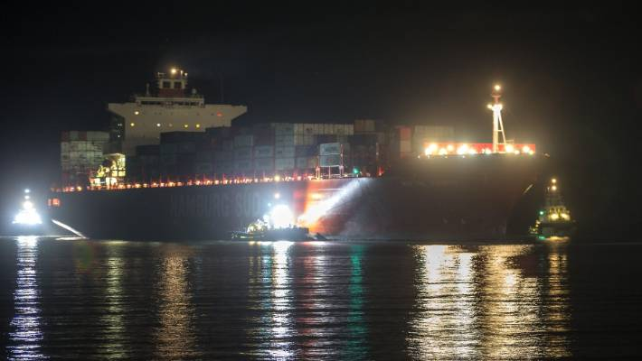 The Rio De Janeiro arrives under darkness into the Port of Timaru.