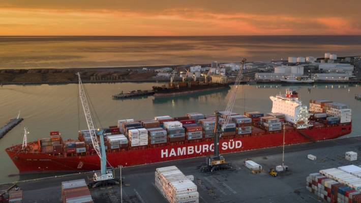 Sunrise over the Port of Timaru sheds light on the Rio de Janeiro container ship, the largest vessel to ever berth in the port.