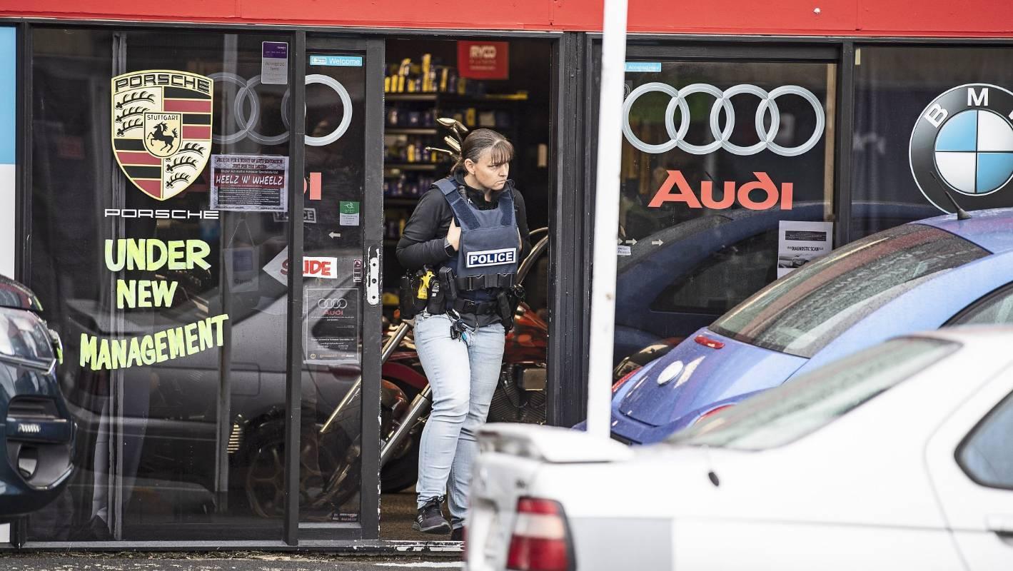 Heavy police presence at upmarket Auckland European car dealer