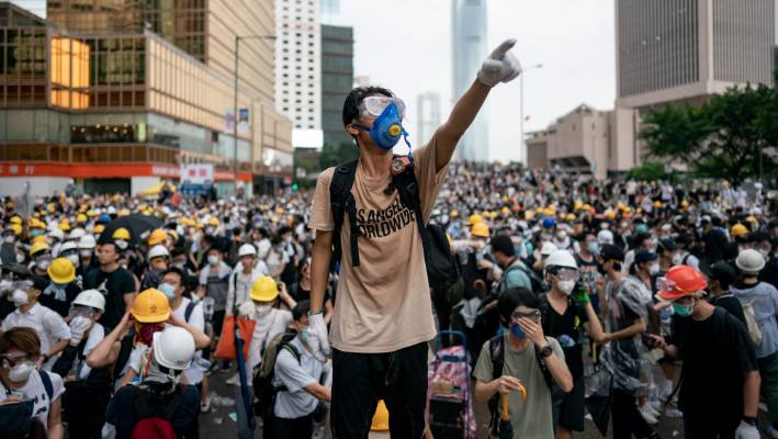 Large crowds of protesters gathered in central Hong Kong in June.