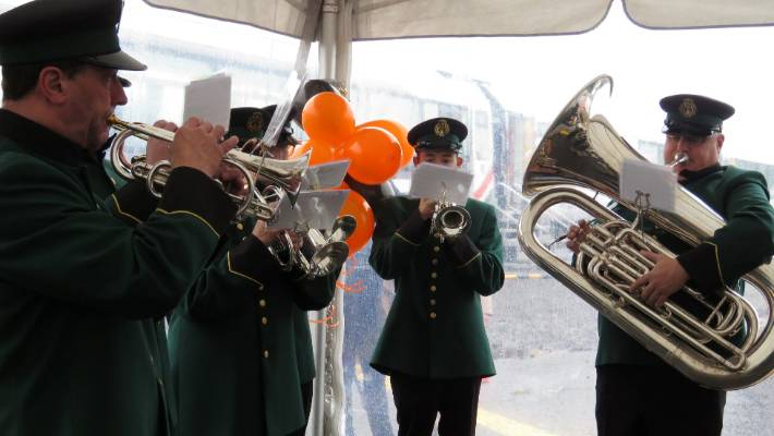 The Deco Bay Brass group performed for Shane Jones upon his arrival.