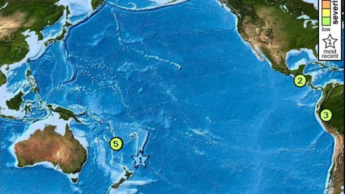 The star shows where a magnitude 7.4 earthquake has struck in the Kermadec Islands region of the Pacific, north east of New Zealand.