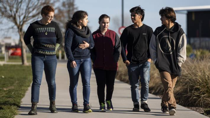 "Senior Haeata Community Campus students are unhappy with their school's alternative ""self-directed"" learning model. Year 13 students, Rebecca Thompson-Looij, 17, left, Kristina Varbai, 17, Chloe Steere, 17, Jamie O'Hagen, 17, and Alex O'Hagen, 17."