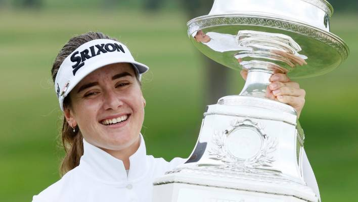 Australia's Hannah Green holds her first major trophy after winning the Women's PGA Championship