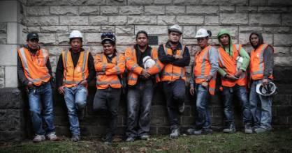 Migrant workers (left to right) Andrew Doromal, Ric Bayoneta, William Guiro, Ian Chavez, Ryan Magbanua, Renilo Cano, ...