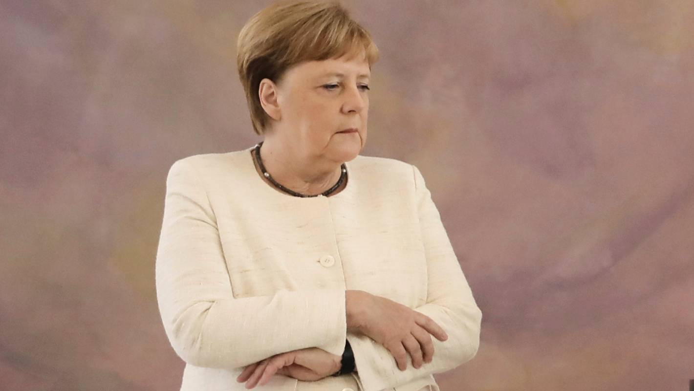 German Chancellor Angela Merkel seen visibly shaking again