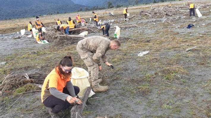 The New Zealand Defence Force have joined the effort to clear over 5000 tonnes of rubbish from the Fox River and West Coast.