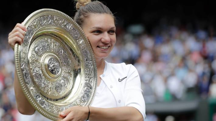 When it comes to the slams, the women haven't even been offered the opportunity to play best-of-five. Simona Halep holds the trophy after being too good for Serena Williams in the Wimbledon women's final.
