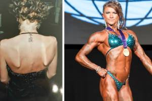 Amy George has gone from being dangerously underweight to a pro bodybuilder.