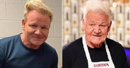 Chef Gordon Ramsay tries the FaceApp - adding a few decades to his age.