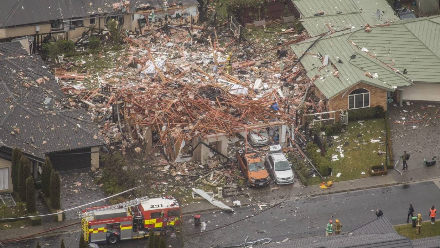 Christchurch explosion: Blast sent debris flying over the neighbourbood, as shown in aerial video
