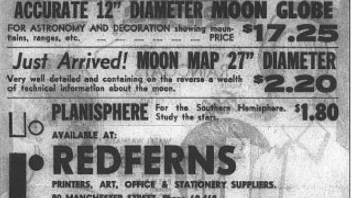 Some of the space-themed adverts that appeared in The Press following the Moon landing on July 20 1969.