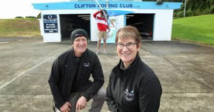 Clifton Rowing Club president Gus Berghan, left, and new head coach Philippa Baker-Hogan. (Rower Manawa McLaughlin in ...