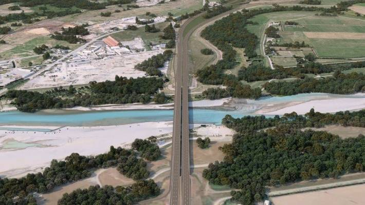 An artist concept of the finished Waimakariri Bridge upgrade, which is part of the Christchurch Northern Corridor. The upgrade will add a lane to the inside of each of the bridges, as well as a clip-on bike lane.
