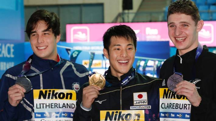 The men's 400m medley podium at the 2019 world championships: gold to Japan's Daiya Seto, centre, silver to Jay Litherland (US), left, and bronze to New Zealand's Lewis Clareburt.