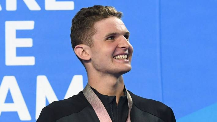 Bronze medallist Lewis Clareburt of New Zealand after the men's 400m medley final at the 2018 Commonwealth Games.