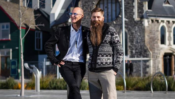 Abe Gray, right, with Cookie Time founder and hemp advocate Michael Mayell. The pair created the Whakamana New Zealand Institute of Cannabis Education, Research and Development in Christchurch.