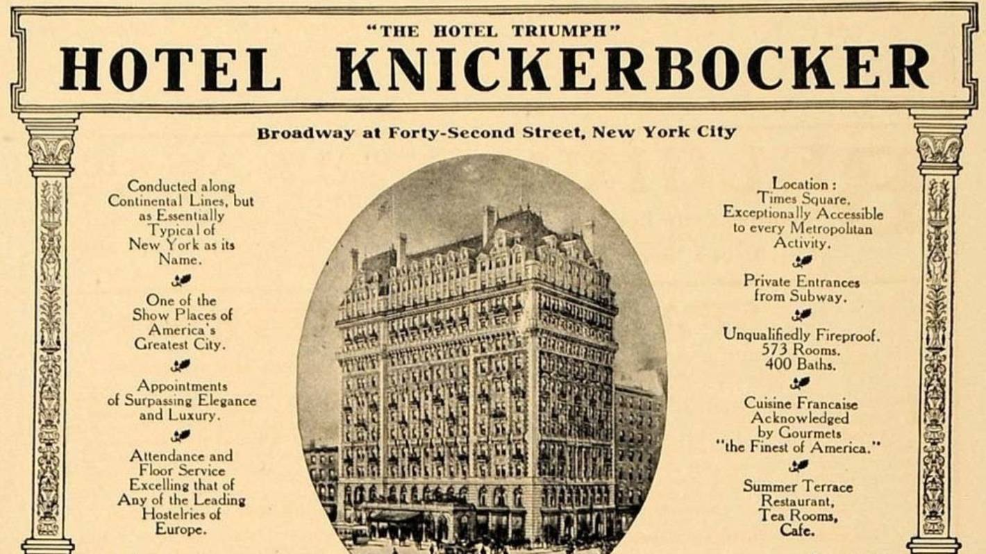 New York's Knickerbocker Hotel: The Big Apple accommodation