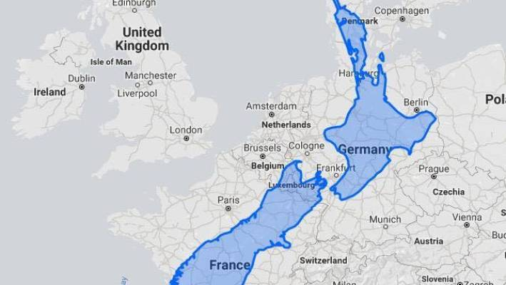 Map Of Europe France.How New Zealand S Land Mass Compares To Europe Stuff Co Nz