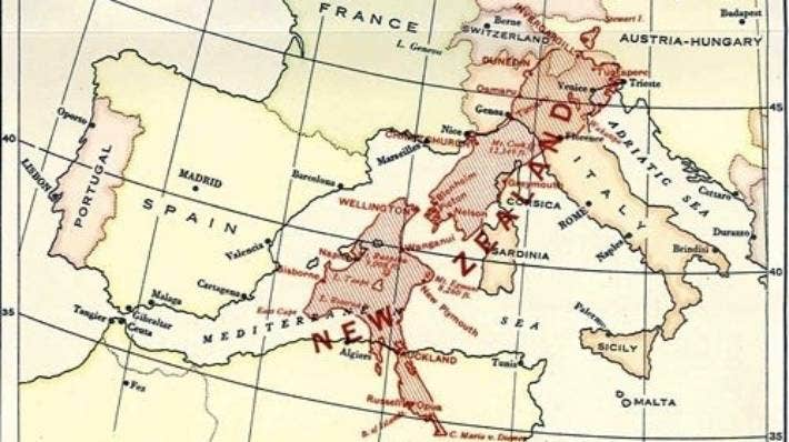 Featured in the New Zealand Official Yearbook from a century ago, the map shows New Zealand stretching across Italy and into North Africa.