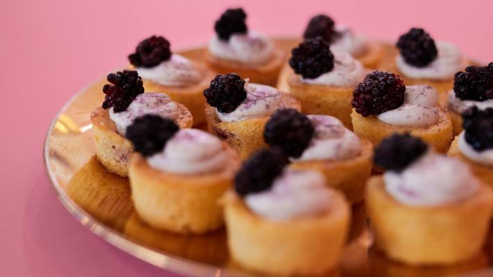 Recipe: Violet and blackberry baby cakes   Stuff co nz