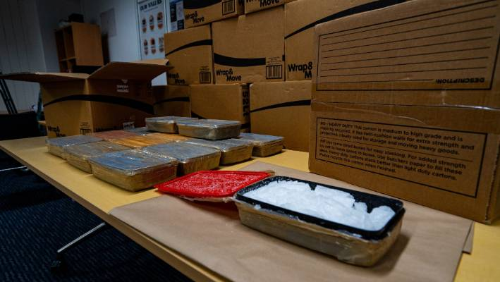 The drugs were stored in cardboard packaging boxes in a wardrobe.