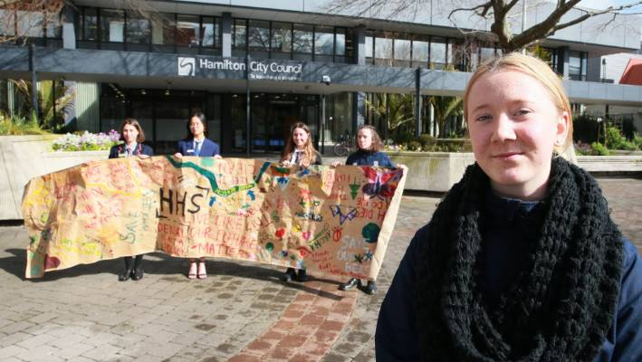 Students were disappointed after Hamilton City Council rejected a climate change 'emergency', opting for 'urgency' instead.  Front: Molly Huggan,15, Hillcrest High School.