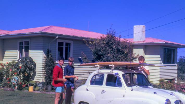 Dave Lowe, left, as a teenage surfboarder in Taranaki in the mid-1960s.