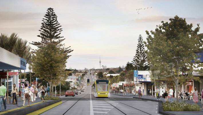 The Government's Auckland light rail plan will not be considered by Cabinet until 2020. This is an artist's rendition of what light rail in Auckland could look like.