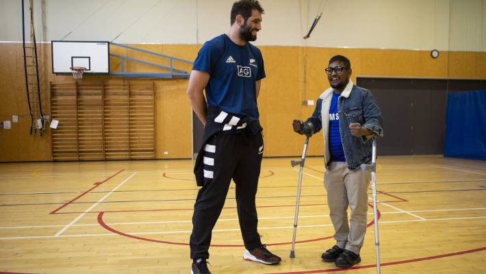 Mosque attack victim Sheikh Hasan Rubel will receive donations from a fund managed by the Christchurch Foundation. He is pictured here meeting All Black Sam Whitelock in August.