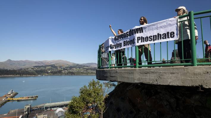 Protesters angry about phosphate imports from Western Sahara protest Lyttelton on Sunday.
