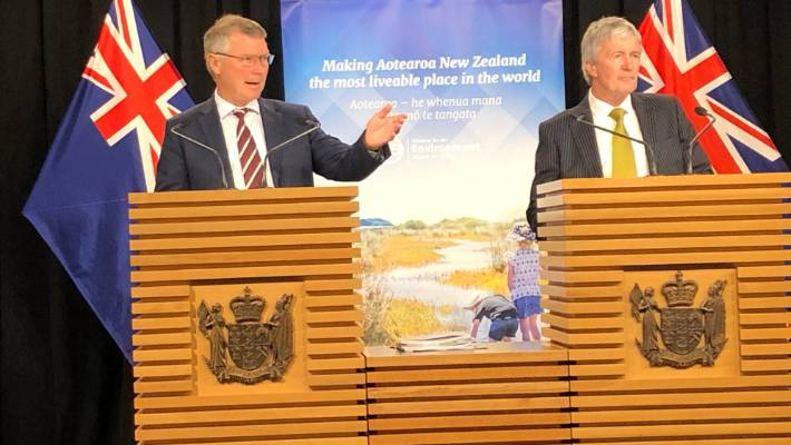 Environment Minister David Parker and Agriculture Minister Damien O'Connor announce the Government's action plan for healthy waterways. It was not good enough that many places people swam as kids were now not safe, Parker said.
