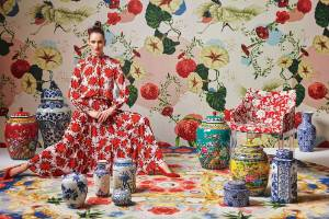 Resene Wallpaper Collection HAN100417818 is an exuberant spring-inspired backdrop to the latest fashions from Kate Sylvester.
