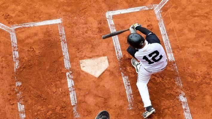 Nathan Nukunuku at bat for the Black Sox at his seventh and final world championships in Prague.
