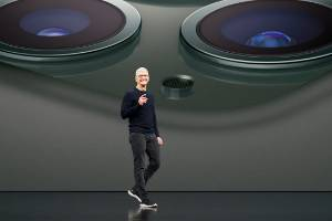 Tim Cook on stage at Apple's 2019 event.