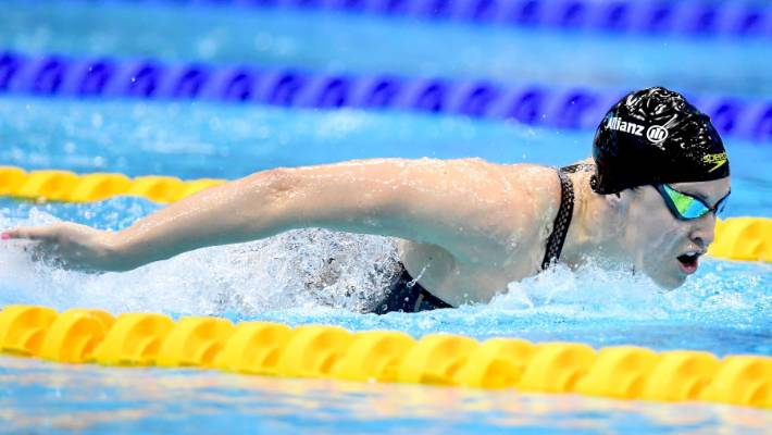 Sophie Pascoe recorded a championship record time in the women's 100m butterfly S9 final in London.