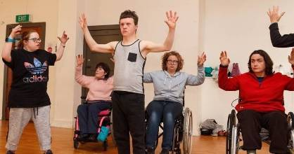 WI Dance at Disability Pride 2018. From left, Emily Thompson, Kezia Bennett, Duncan Armstrong, Kate Dovey, and Jane Gordon.
