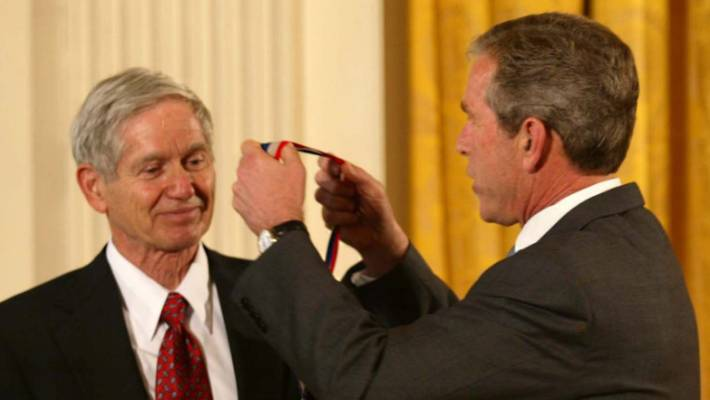 Charles David Keeling received the National Medal of Science from then-US President George W Bush in 2002.