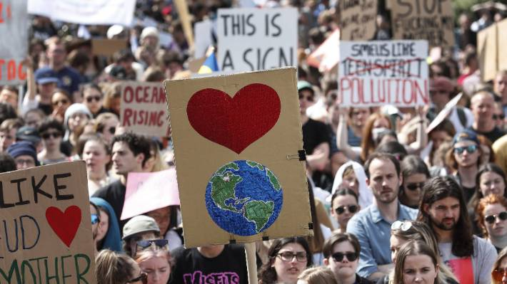 A crowd of 40,000 marched from School Strike 4 Climate march from Civic Square to Parliament, Wellington.