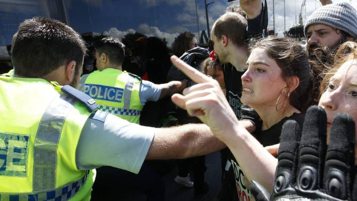 Peace Action protest outside a defence forum at Westpac Stadium, Wellington in 2017. (file photo)