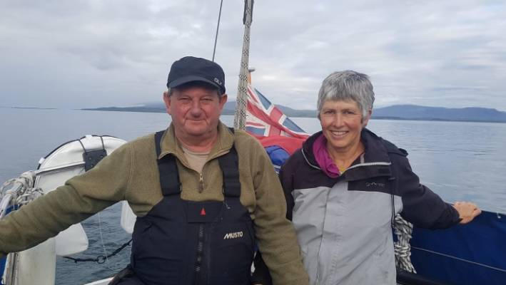 Nick Banks, with wife Lindsay, sailing in the Western Isles in Scotland this year. The couple have lived in North Wales since 1986.