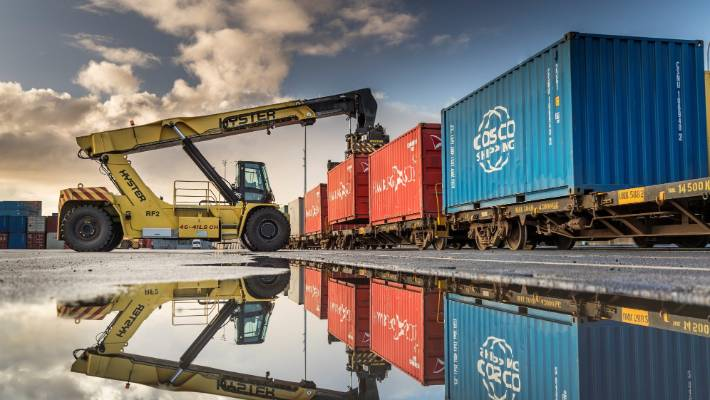 Containers being loaded on to rail wagons at Ports of Auckland. Rail freight is a major part of the proposed expansion of Northport, in Whangārei.