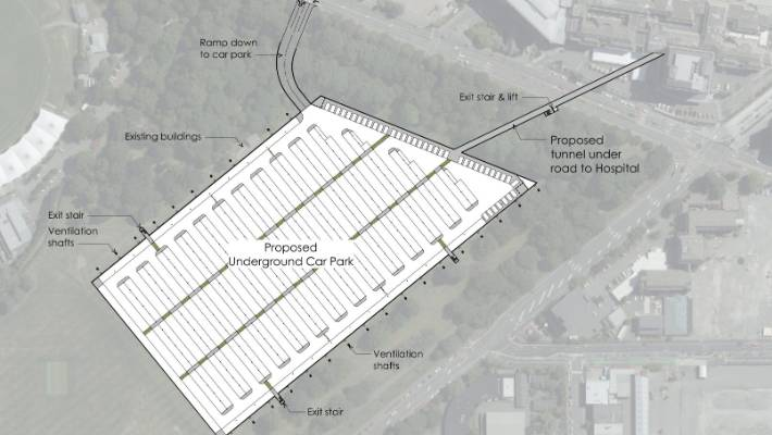 Christchurch architect Graham McDermid has proposed an underground car park across the road from Christchurch Hospital in South Hagley Park.