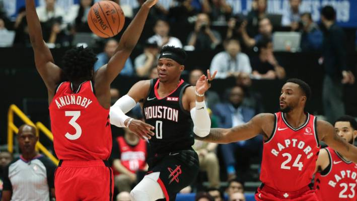 Russell Westbrook in action during Houston's pre-season game against Toronto.