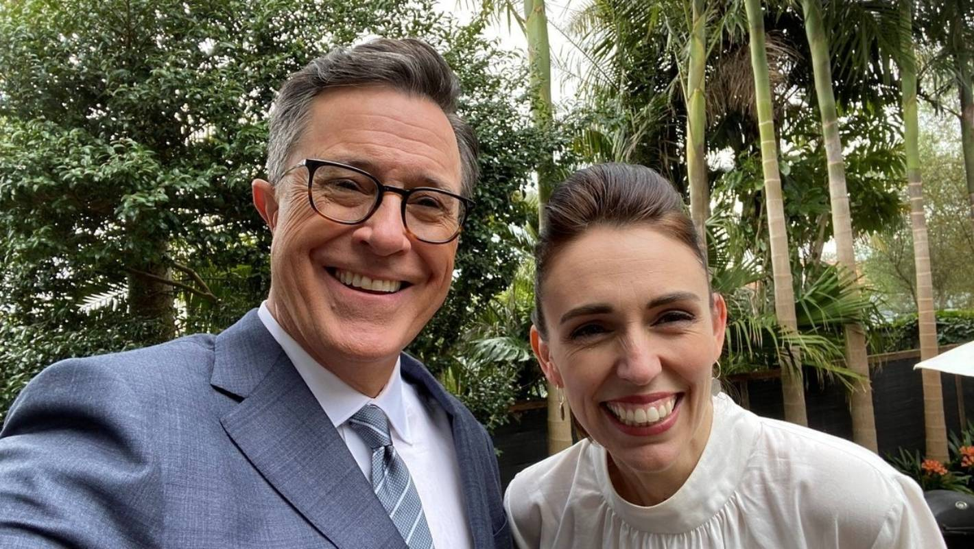 Jet-lagged Stephen Colbert says PM Jacinda Ardern appointed him president of NZ