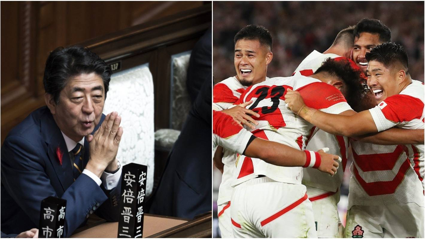 Japan's historic win in wake of Typhoon Hagibis excites Prime Minister Shinzo Abe