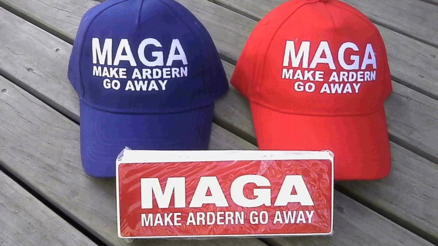 The far right links of the Trump-style 'Make Ardern Go Away' hats
