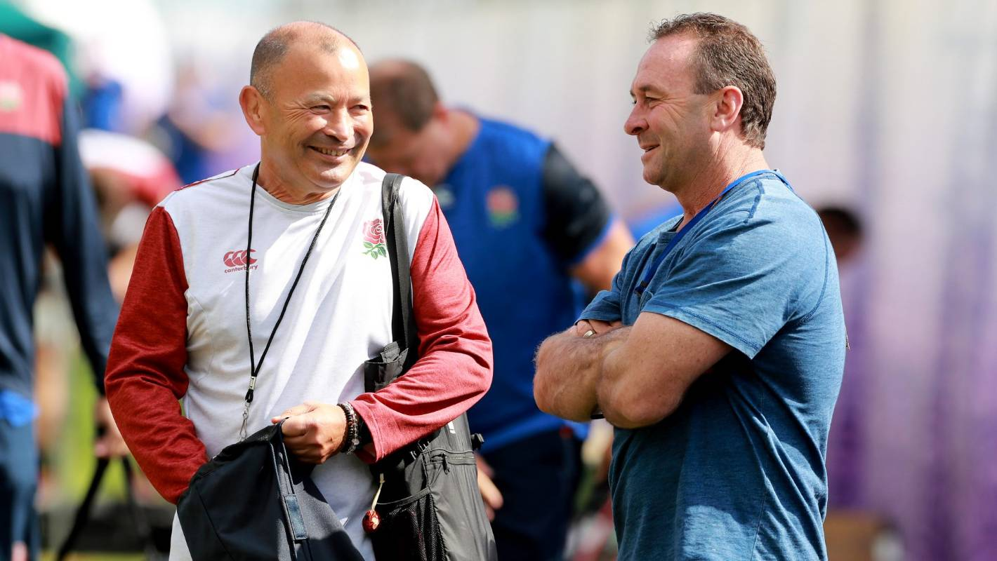 Eddie Jones and Ricky Stuart enjoy a laugh in England's Rugby World Cup camp