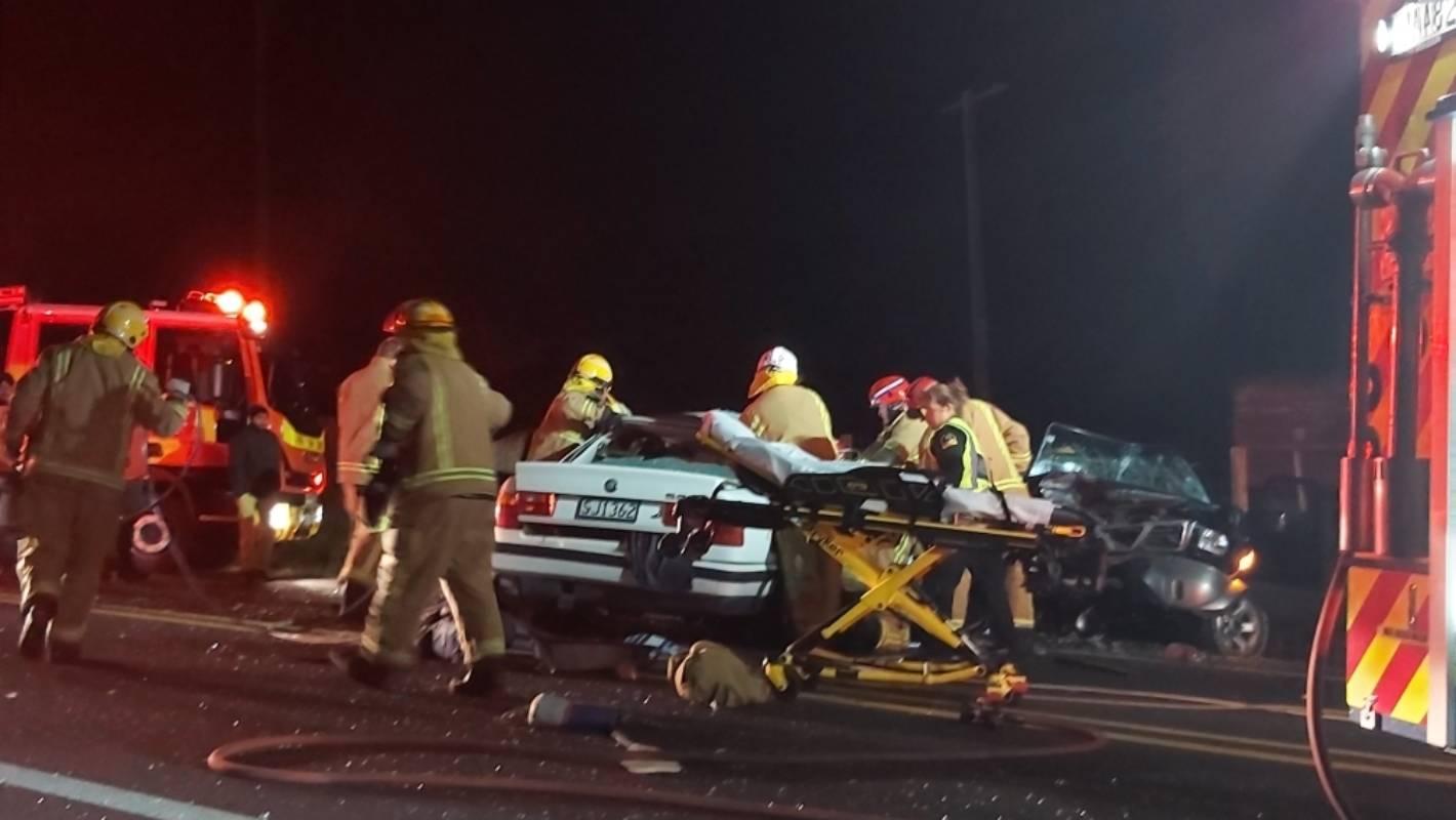 Four seriously injured in two-car crash near Waihī